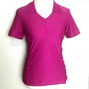 Athleta Womens Hot Pink Birdie Polo Shirt Top XS